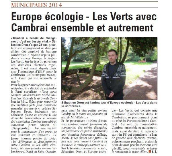 Presse :  Europe écologie-Les Verts avec Cambrai ensemble et autrement dans Médias eelvsebdroncambrai2014-e1381299853177